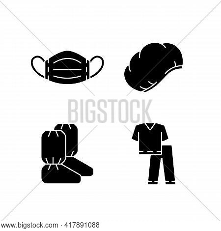 Disposable Medical Equipment Black Glyph Icons Set On White Space. Sterile Mask For Protection From