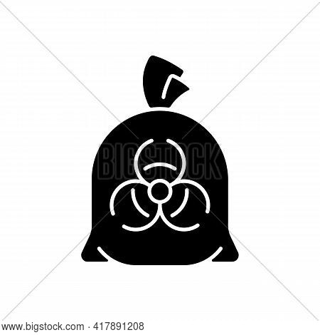 Infectious Waste Bag Black Glyph Icon. Disposable Biohazard Trash. Dangerous Chemical Hospital Waste