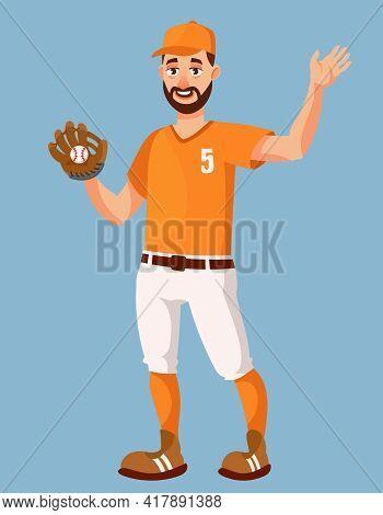 Baseball Player Waving Hand. Sportsman In Cartoon Style.