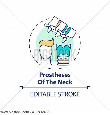 Neck Prostheses Concept Icon. Prostheses Type Idea Thin Line Illustration. Neck Defects And Injuries