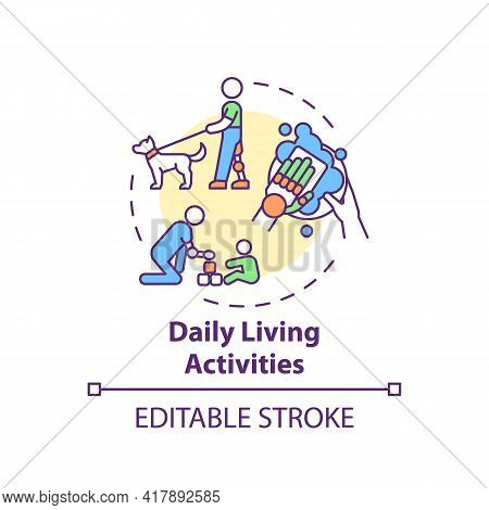 Daily Living Activities Concept Icon. Upper-limb Prostheses Task Idea Thin Line Illustration. Reduci