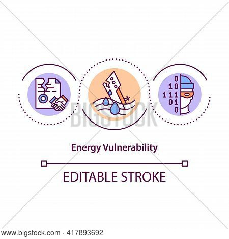 Energy Vulnerability Concept Icon. Troubles From Huge Consumption Of Energy. Producing Clean Power I