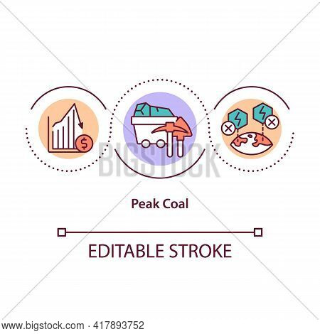 Peak Coal Concept Icon. Extraction Of Fuel From Mountains From Planet. Consumption Of Planet Resours