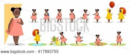 Little Black Girl In Various Gesture Expression Poses. Female African Child Shows Different Emotion