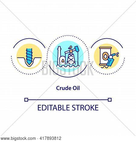 Crude Oil Concept Icon. Naturally Occurring Petroleum Product Composed Of Hydrocarbon Deposits. Eco