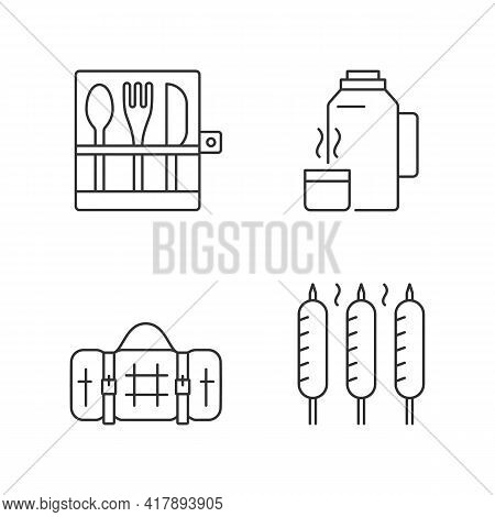 Outdoor Social Gathering Linear Icons Set. Picnic Cutlery. Vacuum Flask. Grilled Sausage. Picnic Bla