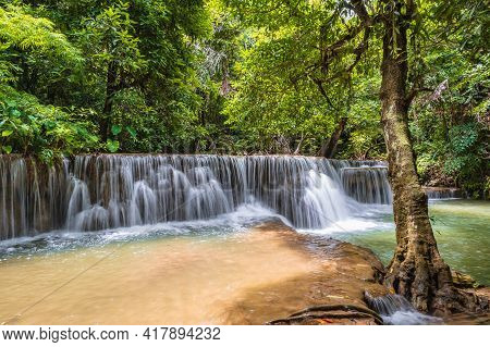 Landscape Waterfall Of Huai Mae Khamin Waterfall Srinakarin National Park At Kanchanaburi Thailand.