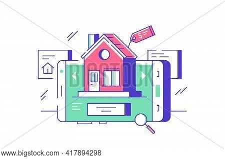 Real Estate Online Sale Or Rent Vector Illustration. Sale, Purchase, Rent, Mortgage House Online On