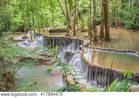 Landscape Of Huai Mae Khamin Waterfall Srinakarin National Park At Kanchanaburi Thailand.huai Mae Kh