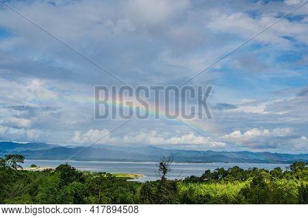 Beautiful Landscape View From Viewpoint Of  Huai Mae Khamin Waterfall Srinakarin National Park At Ka