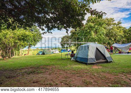 Camping Ground Of  Huai Mae Khamin Waterfall Srinakarin National Park At Kanchanaburi Thailand.