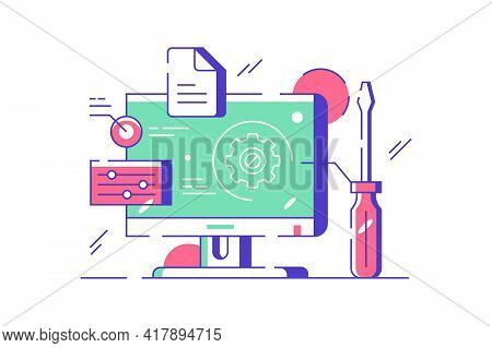 Customization And Setting Design Online Vector Illustration. Touch Screen Device Setting Flat Style.