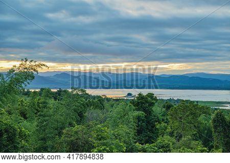 Beautiful Landscape View And Sunrise From Viewpoint Of  Huai Mae Khamin Waterfall Srinakarin Nationa