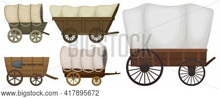 Wild West Wagon Vector Cartoon Set Icon.vector Illustration Set Western Of Old Carriage On White Bac