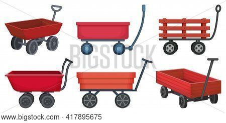 Garden Wagon Cartoon Vector Illustration On White Background. Farm Wheelbarrow Set Icon.vector Illus
