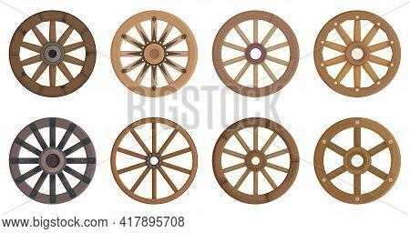 Wooden Wheel Cartoon Vector Set Illustration Of Icon.wheel Wagon Vector Set Of Icon.cartoon Collecti