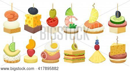 Canape And Food Cartoon Vector Set Illustration Of Icon.food And Appetizer Vector Set Of Icon.canape