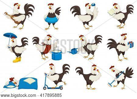 Cock Of Animal Isolated Cartoon Set Icon.vector Illustration Set Rooster Cockerel.vector Cartoon Ico