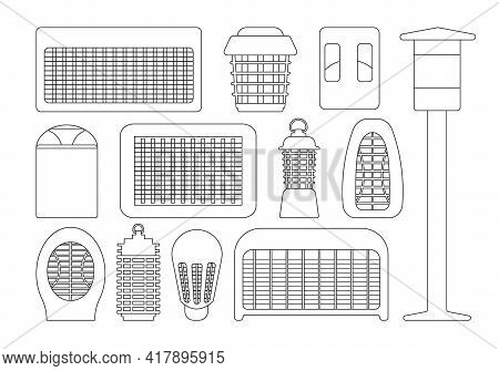 Insect Trap Vector Outline Set Icon. Vector Illustration Flytrap On White Background. Isolated Outli