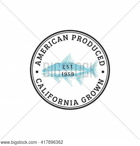 Vector Trout Logo With Lettering. Seafood Emblem.