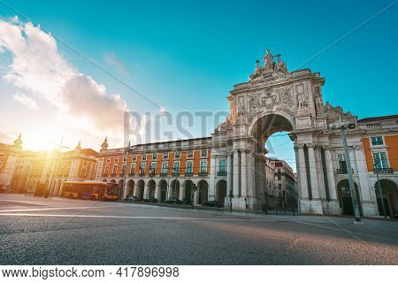 Commerce Square Or Praca Do Comercio And Famous Rua Augusta Arch On A Sunny Summer Evening In Lisbon