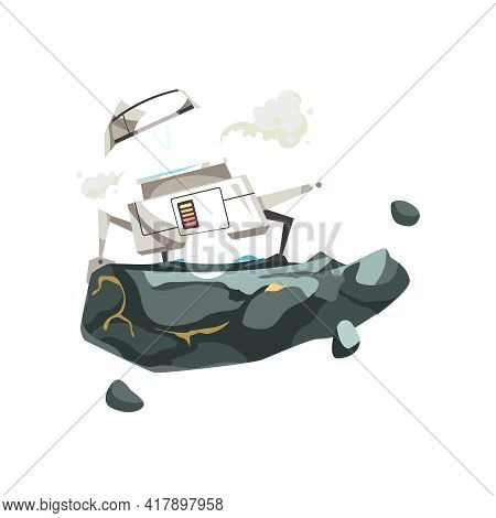 Space Exploration Cartoon Icon With Small Lunar Rover On Planet Surface Vector Illustration