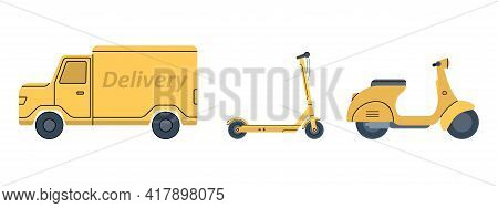 Yellow Scooter, Van, Electric Scooter. Transport For Fast Delivery Of Online Orders. Vector Illustra