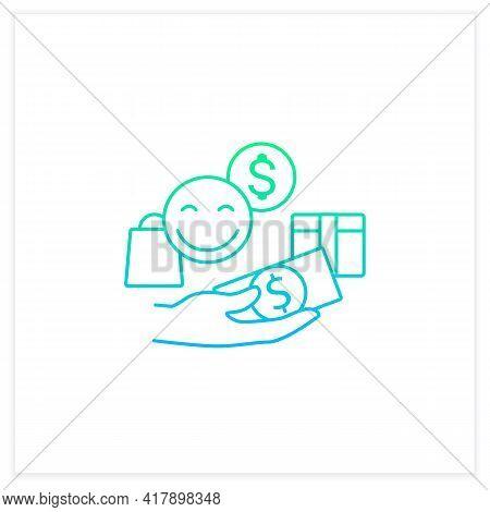 Designate Guilt-free Spending Money Gradient Icon.hand Holds Money.happy Emoji.thoughtful Spending M