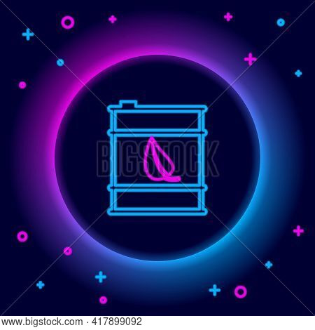Glowing Neon Line Bio Fuel Barrel Line Icon Isolated On Black Background. Eco Bio And Canister. Gree