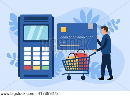 Man Shopping With Credit Card In Flat Design. Payment Terminal With Pos Machine.