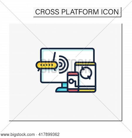 Multiplayer Color Icon. Technical Devices. Wi- Fi, Computer, Phone. Synchronically. Wireless Equipme