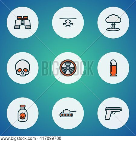 Battle Icons Colored Line Set With Gun, Bullet, Nuclear Explosion And Other Aviation Elements. Isola