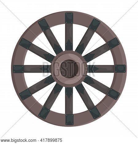 Wooden Wheel Cartoon Vector Icon.cartoon Vector Illustration Wagon. Isolated Illustration Of Wooden