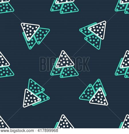 Line Nachos Icon Isolated Seamless Pattern On Black Background. Tortilla Chips Or Nachos Tortillas.