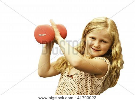 Young girl with weights