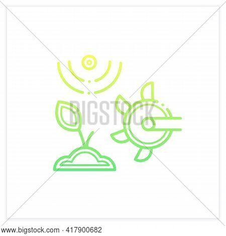 Soil Tilling Gradient Icon. Agricultural Preparation Of Soil By Mechanical Agitation. Using Digging,