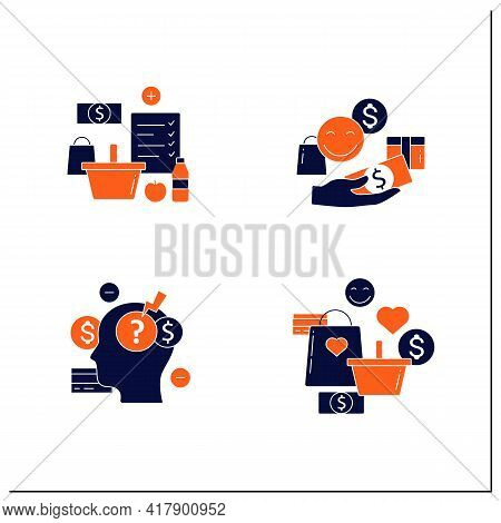 Mindful Spendings Glyph Icons Set.shopaholism, Designate Guilt-free Spending Money, Shopping List, S