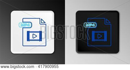 Line Mp4 File Document. Download Mp4 Button Icon Isolated On Grey Background. Mp4 File Symbol. Color