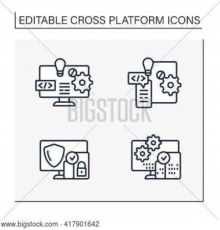 Cross Platform Line Icons Set. Software And Hardware Platform, Security, Programming. Digitalization