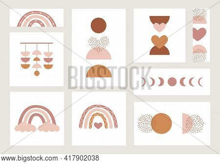 Set Of Different Size Posters With Boho Rainbows And Abstract Contemporary Aesthetic Background With