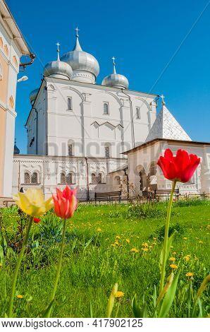Veliky Novgorod, Russia. Savior Transfiguration Cathedral In Varlaam Khutyn Monastery, Veliky Novgor