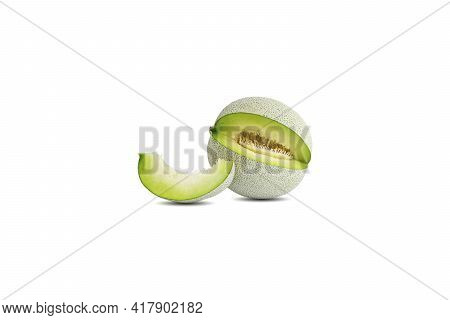 One Cantaloupe Or Melon And One Piece Isolated On White Background.