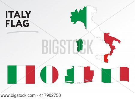 Various Designs Of The Italy Flag And Map. World Flags. Vector Set. Circle Icon. Brush Stroke. Templ