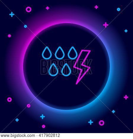 Glowing Neon Line Storm Icon Isolated On Black Background. Drop And Lightning Sign. Weather Icon Of