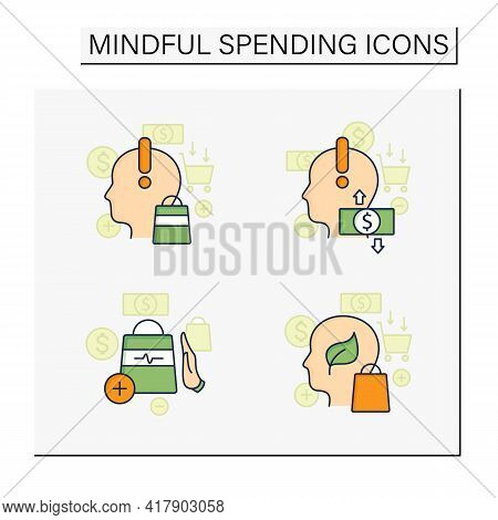 Mindful Spendings Color Icons Set. Not Impulsive Shopping, Green Thinking, Conscious Consumption. Sh