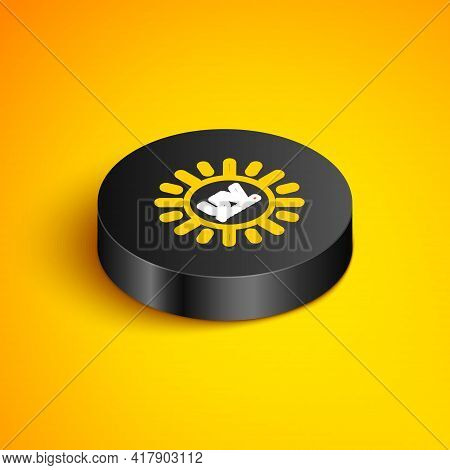 Isometric Line Uv Protection Icon Isolated On Yellow Background. Ultra Violet Rays Radiation. Spf Su