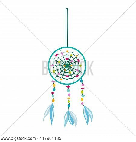 Lucky Dreamcatcher. Good Luck Symbol. Symbol From Evil Spirits. Isolated Item On White Background