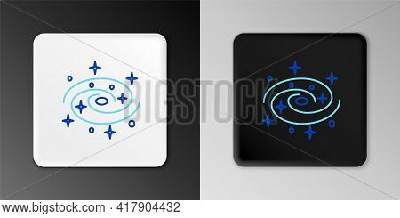Line Milky Way Spiral Galaxy With Stars Icon Isolated On Grey Background. Colorful Outline Concept.