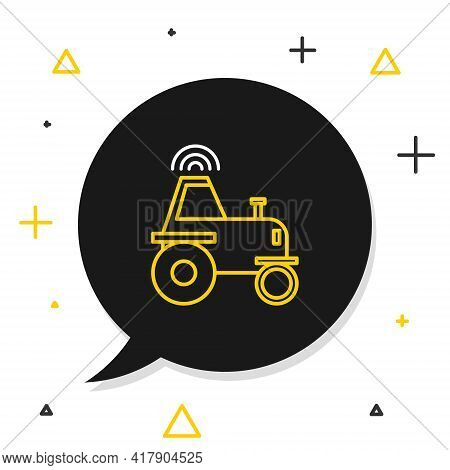 Line Self Driving Wireless Tractor On A Smart Farm Icon Isolated On White Background. Smart Agricult
