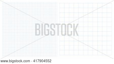 Set 2 Dotted Square Line Patterns Vector Illustration. Graph Squared Cage Notebook Sheet Paper Backg